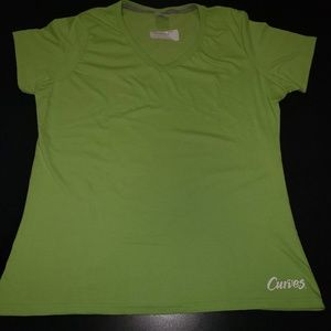 Lime Green V-Neck Plain Workout Tee